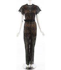 jonathan simkhai emma black guipure lace belted jumpsuit beige/black sz: s