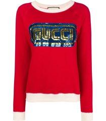 gucci sequined logo sweatshirt - red