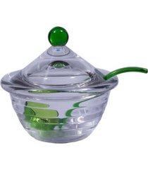 molheira em acrílico com colher e tampa verde