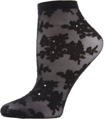 women's floral rhinestone shortie sheer see-through socks