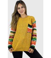 sweater de lana hippie chic mostaza enigmática boutique