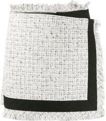 sacai tweed frayed skort - white