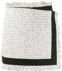 sacai tweed frayed skort - white
