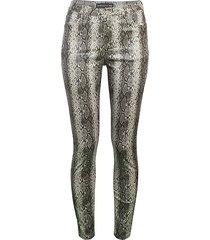 coated snake-print pants