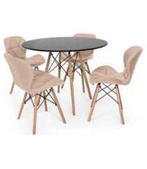kit mesa jantar eiffel 90cm preta + 04 cadeiras slim - nude