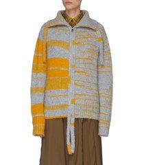 fringe detail zip up cardigan