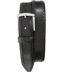 men's johnston & murphy perforated leather belt, size 34 - black