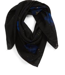 men's saint laurent hibiscus bandana scarf, size one size - black