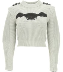 self-portrait sweater with lace insert