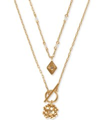 lucky brand gold-tone 2-pc. set pave & imitation pearl flower pendant necklaces