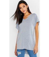 basic t-shirt met v-hals en v-hals, grijs