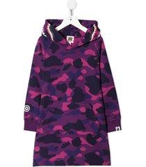 a bathing ape® camo shark hooded dress - purple