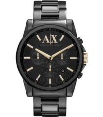 ax men's black stainless steel bracelet watch 45mm