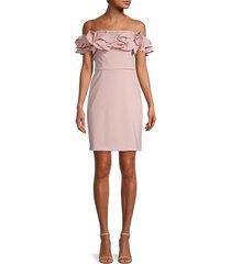 theia women's off-the-shoulder sheath dress - blush - size 8