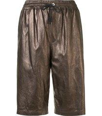 brunello cucinelli metallic-print leather shorts - gold