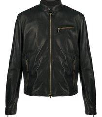 ajmone structured leather jacket - black