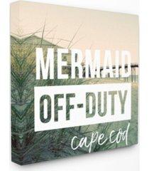 "stupell industries mermaid off duty cape cod canvas wall art, 17"" x 17"""