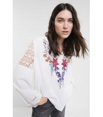 boho lace blouse - white - xxl