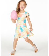 epic threads little girls tie-dye fit & flare dress, created for macy's