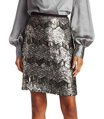 elie tahari women's venus sequin skirt - platinum - size l