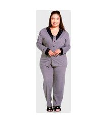 conjunto pijama de inverno plus size manga longa cinza detalhes em renda com botões para abertura frontal