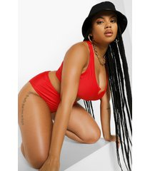 plus essentials bikini top met hals inkeping, red