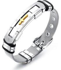 braccialetti regolabili classici del polsino del braccialetto della cinghia della maglia dei braccialetti degli uomini dell'acciaio inossidabile di fascino di croce trasversale