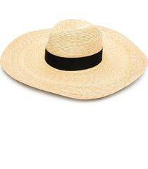 borsalino wide-brim straw sun hat - 7140 beige