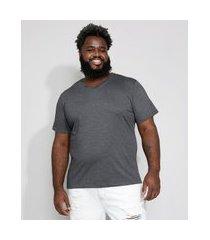 camiseta masculina plus size básica manga curta gola v cinza mescla escuro