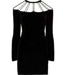 alessandra rich bow-embellished cutout mini dress - black