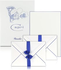 pineider designer writing instruments, capri - 50 sheets white letter paper with handpainted border