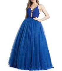 mac duggal women's cutout ball gown - sapphire - size 8