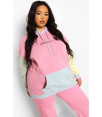 plus woman pastel colour block hoodie, multi