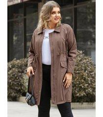 abrigo de manga larga con diseño de cremallera y diseño de bolsillo con cordón de talla grande yoins
