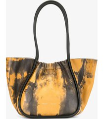 proenza schouler large tie dye ruched tote 0069 camel/black/brown one size