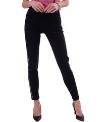 pantalone con strass laterali