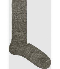 reiss davis - linen cotton blend socks in khaki, mens
