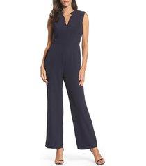 women's tahari sleeveless crepe jumpsuit, size 4 - blue