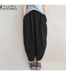 zanzea largas de la moda de pantalones de algodón elástico de la cintura bolsillos holgados de lino flojo harem primavera mujer estilo sólido básico pantalon negro -negro