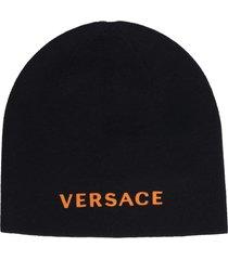 versace logo detail wool beanie