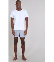 pijama masculino com camiseta manga curta + samba canção estampada listrada branco