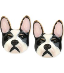 betsey johnson gold-tone bulldog earrings