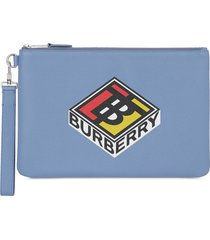 burberry graphic logo pouch - blue