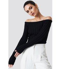 na-kd cropped off shoulder knitted sweater - black