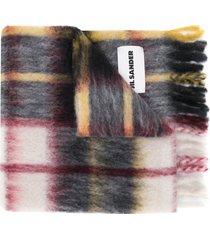 jil sander check hand-knit blanket - neutrals