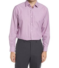 men's big & tall nordstrom traditional fit pinstripe non-iron dress shirt, size 18.5 - 36/37 - purple