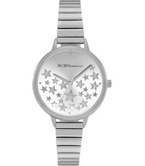 bcbgeneration ladies 3 hands slim silver-tone stainless steel bracelet watch, 34 mm case