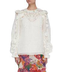 'the lovestruck' ruffle trim floral jacquard blouse