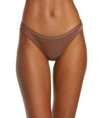 women's madewell softest stretch modal thong, size large - brown