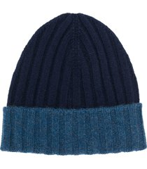 barba ribbed knit beanie - blue